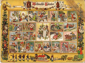 "Vintage Advent calendar, ""Im Lande des Christkinds,"" featuring art by Richard Ernst Kepler. Published by Gerhard Lang in Munich. Photo by Lewenstein, courtesy Wikimedia Commons."