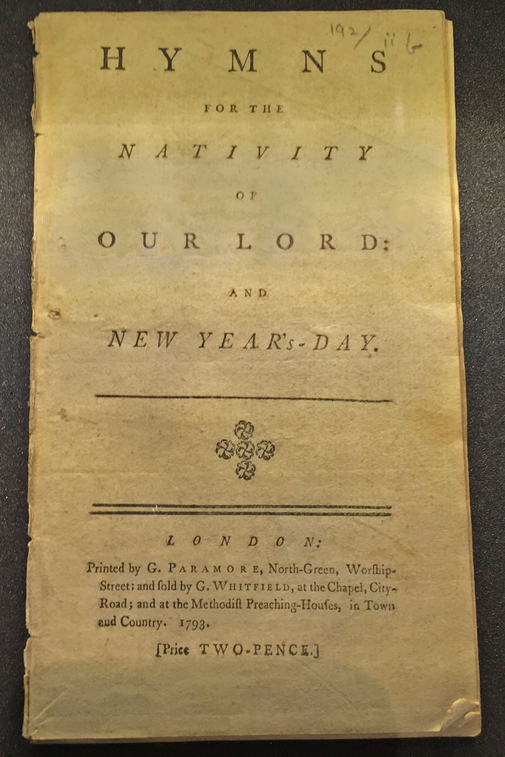 Charles Wesley first published Hymns for the Nativity of the Lord in 1745. This later edition is from 1793.