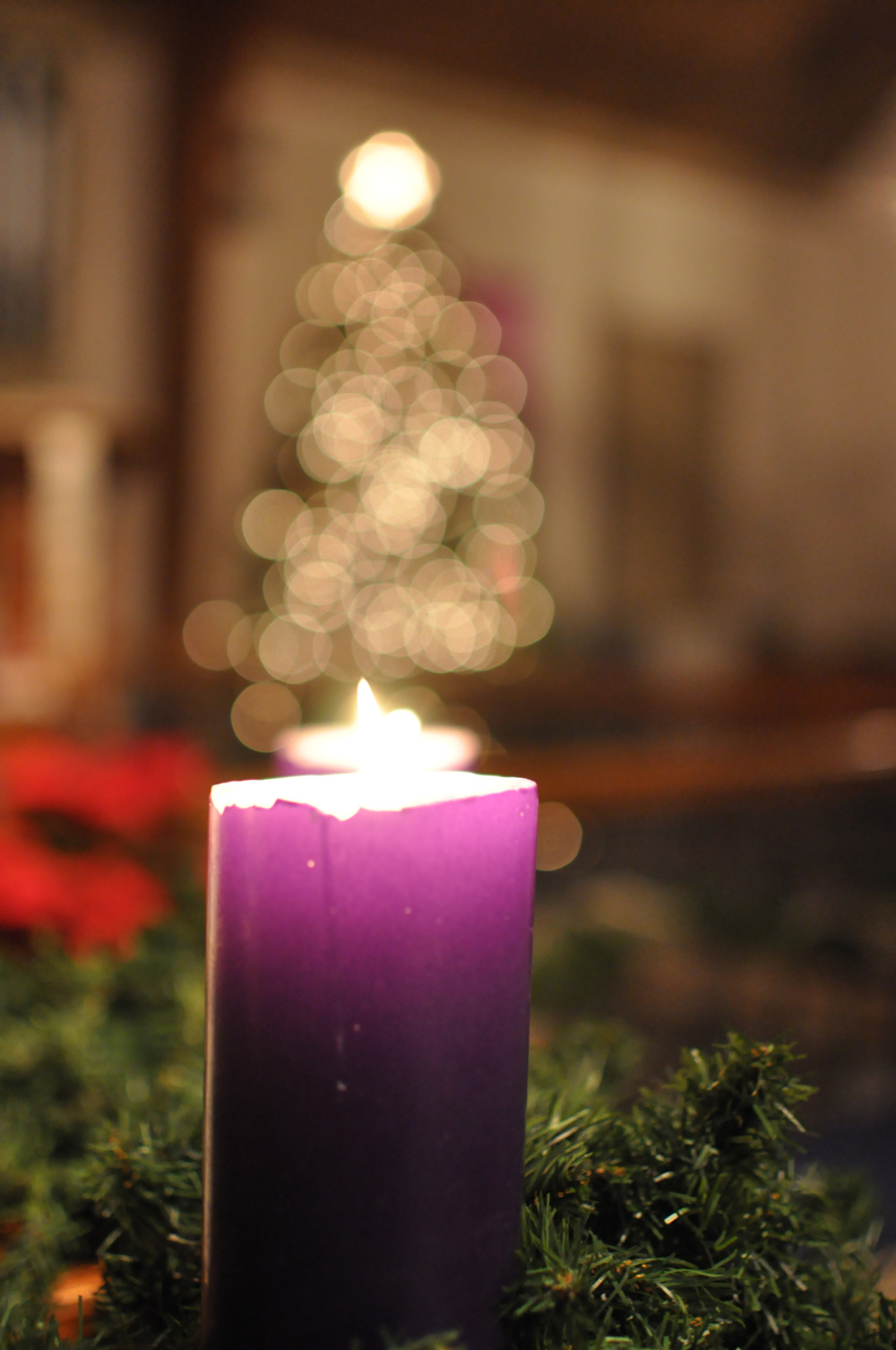 Advent candle at St. Matthew United Methodist Church in Fort Worth, Texas.