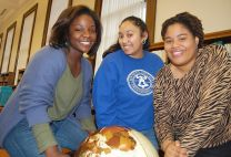 Usha Satish (center), Delrisha White and Raven Williams will become corps members with Teach for America after they graduate from Bennett College this spring. Courtesy: Bennett College.