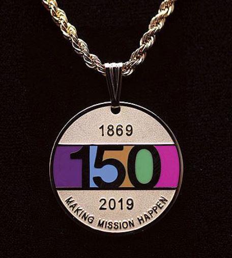 Medallion marks 150 years of UMW's mission. Courtesy UMW.