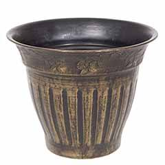 13.5' 34cm Floral Fluted Planter Gold