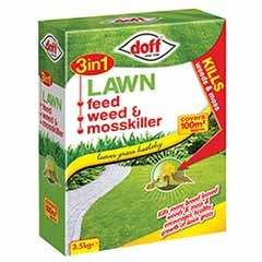 Doff 3 in 1 Lawn Feed, Weed & Mosskiller 3.5Kg 100m2 pack