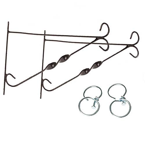 "Pair of 12"" Brackets For Hanging Baskets with Swivel Hooks"