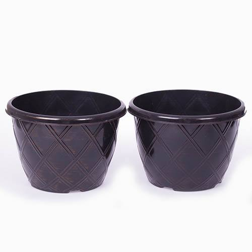 Pair of Rhombus Black & Copper Planters 27cm