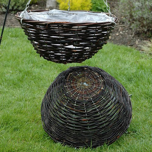 "Set of 4 12"" Rattan Hanging Baskets"