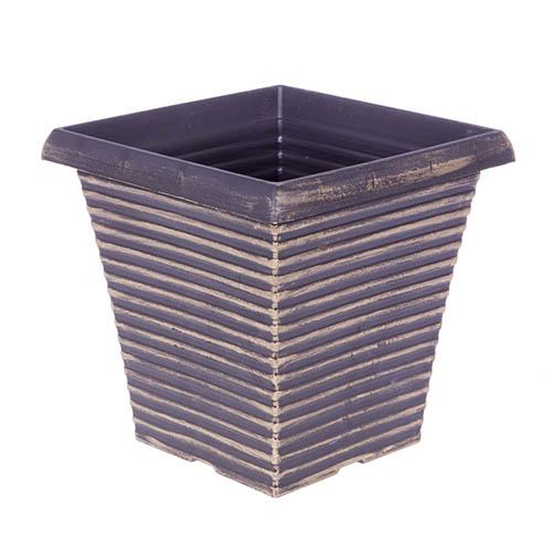 "Image of 10"" Tall Tapered Square Planter in Black & Gold H003"