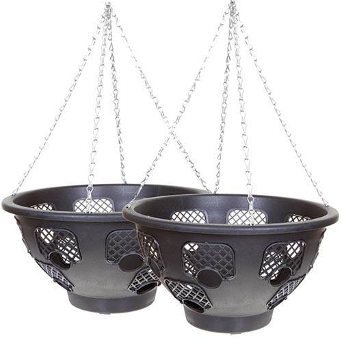 "Pair of 15"" Large Easy Fill Hanging Baskets"