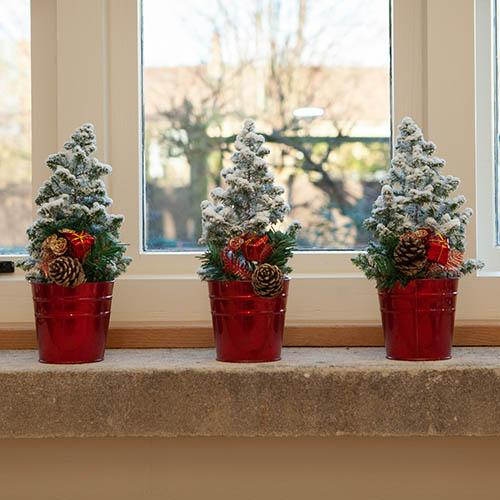 Set of 3 Tabletop Snowy Christmas Trees 25cm tall