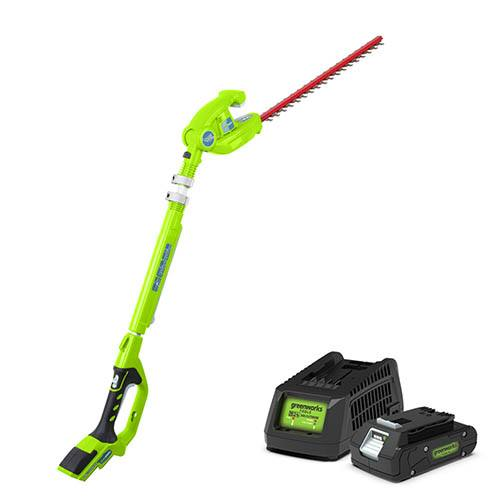 Greenworks 24V Cordless Long Reach Hedge Trimmer with Battery and Charger
