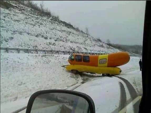 The Wiener Mobile can't handle the Colorado Snow