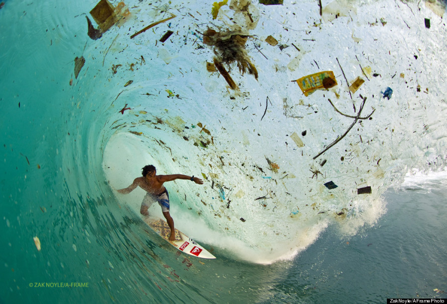 Surf Photographer Zak Noyle took this shot near Java, Indonesia. It's so lame that such a beautiful place with sick waves has been infiltrated with trash!