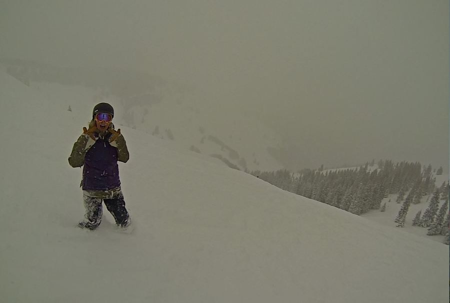Here's our friend Katie knee deep in the white goodness at Vail - keep that storm cycle going!
