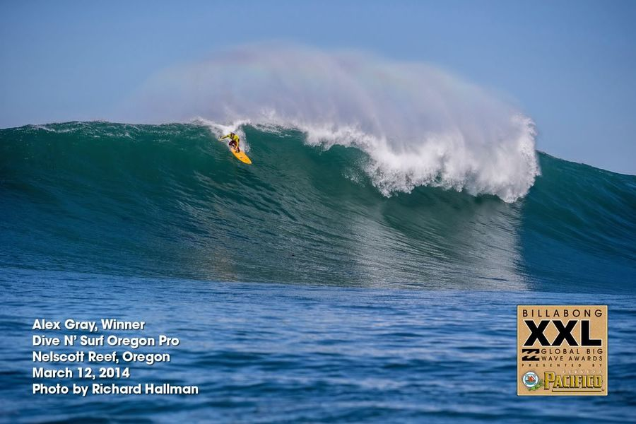 Congratulations to Alex Gray, winner of the Dive N' Surf Oregon Pro yesterday. Photo by Richard Hallman.