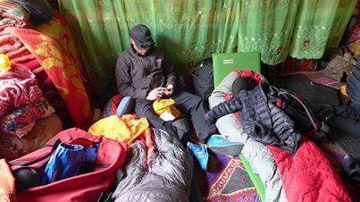 Mike Marolt in Pakems, Winter 7K ski expedition, China.  Mike was wearing them while at a guest room of their hosts in the village Subach China at the base of the peak. The home had dirt floors so Pakems were cozy and appropriate.....