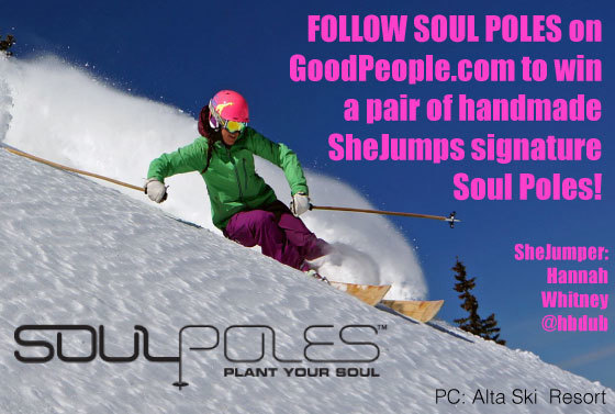 We love chics that RIP! That's why we're stoked to see our friends at @shejumps & @soulpoles collab on some awesome poles! This week, Follow Soul Poles on the site and you could win a pair of SheJumps signature Soul Poles for your next ski trip