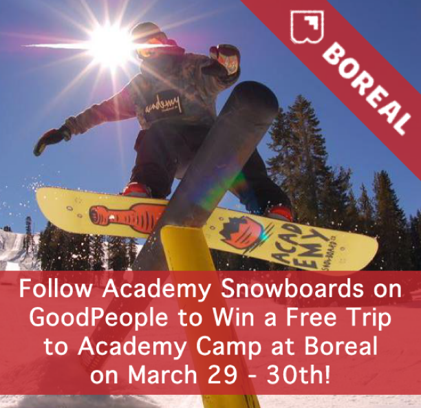 Tomorrow is your last day to win a trip to @academysnowboards camp at Boreal Mountain! It's super easy to enter - just follow Academy Snowboards and we'll notify the winner soon!