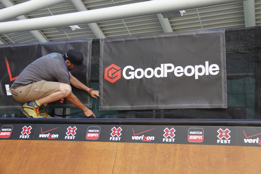 Getting the GoodPeople banners set up on the mini-ramp! We're so stoked to be apart of the X Games