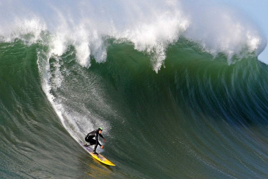 Our friend Frank Solomon was super thankful has he got some bomb waves yesterday at Mavericks Photo by Brian Overfelt.