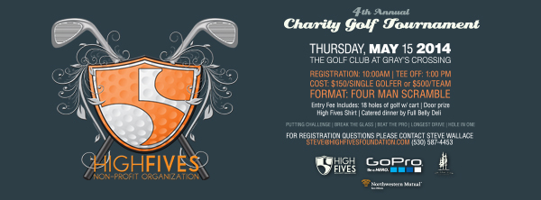 Register NOW before the 4th Annual High Fives Charity Golf Tournament is sold out! http://goo.gl/W7NeMX