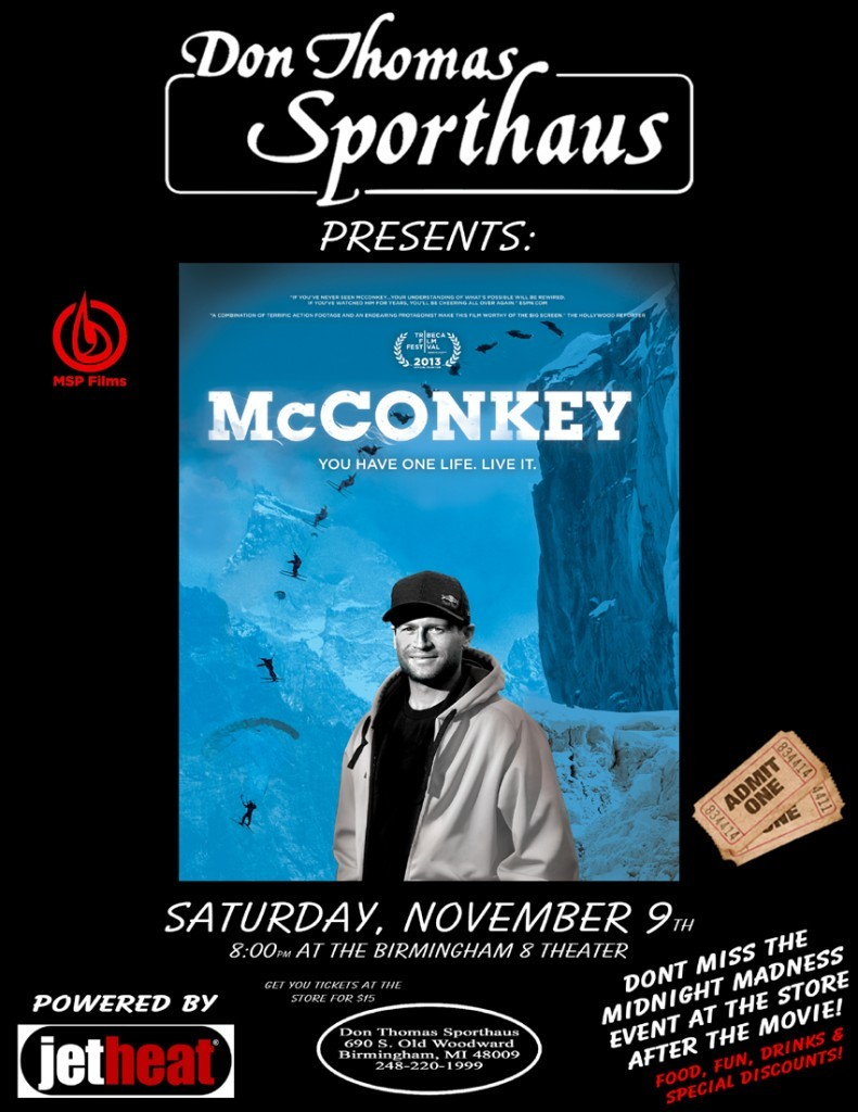 "High Five to Don Thomas Sporthaus (Birmingham, MI) for their generosity in donating proceeds from the area premiere of ""McConkey the Movie"" 