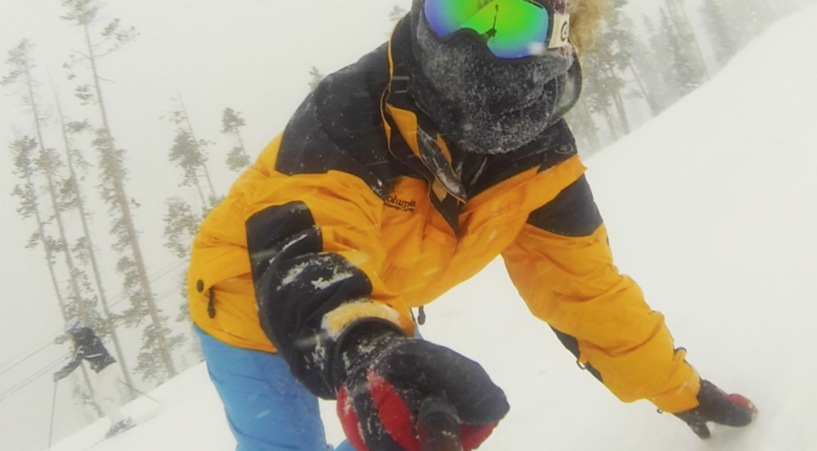 Shredding some fresh powder at Winter Park CO, by the end of the day filming in blizzard conditions was intense