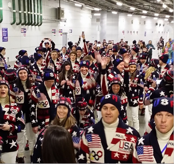 Team USA looking gooood at the Opening Ceremonies - and no this is not an ugly sweater party photo by: Steven Nyman