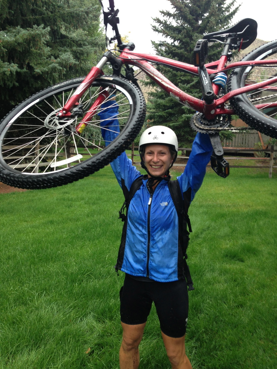 Not all bike rides are created equal. Here's a shot of @rachshredgnar after crushing the Village to Village trail in Beaver Creek during a nasty lightening and thunderstorm!