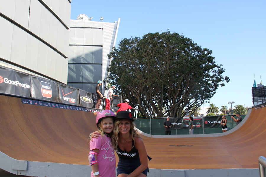 This lil grom just ripped up the mini ramp! Had to get a shot with her