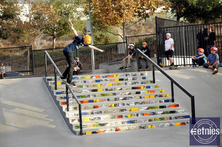 Great shot of the Art of Board Skate Tile Stairs at the  Etnies Fall Classic last weekend. We love what AOB does, recycling skateboards and making them into art  #irideirecycle