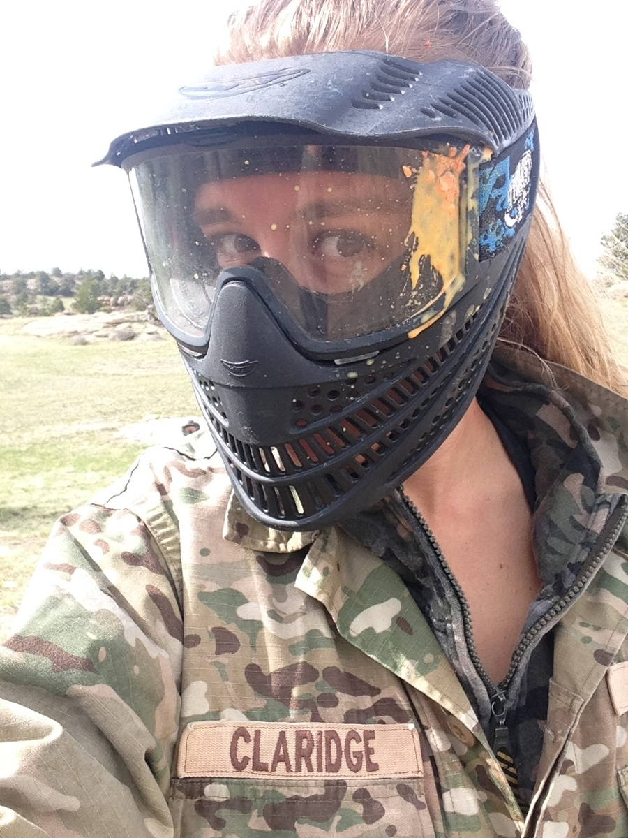 Got hit in the face like a champ paint balling but redeemed myself by destroying the enemy! I was Sargent Claridge