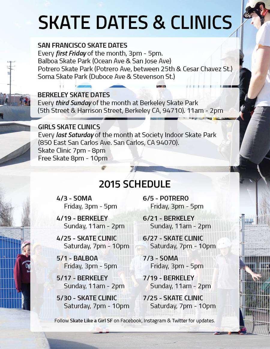 Skate Like a Girl SF Skate Dates & Clinics Schedule