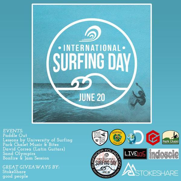 If you're in SF tomorrow  at 3 PM get stoked and join us, @Surfrider-SF, @Indosole + more at OB for International Surfing Day!