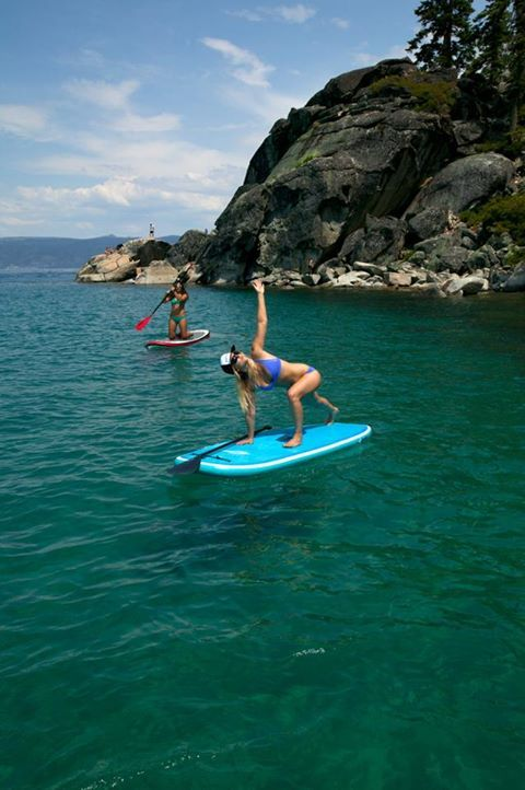 Love this pic of our Marketing Coordinator Heathyr doing a SUP yoga variation of revolved lunge pose. She is wearing the Corinne bikini in Cobalt. It was a beautiful day at D.L. Bliss in South Lake Tahoe! Photo by Surftech