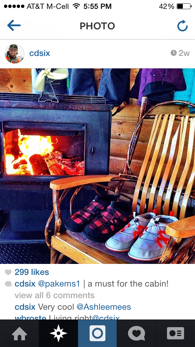 Pakems first extreme athlete Cory Davis showing off his Pakems by the fireplace.  Thanks again Cory!