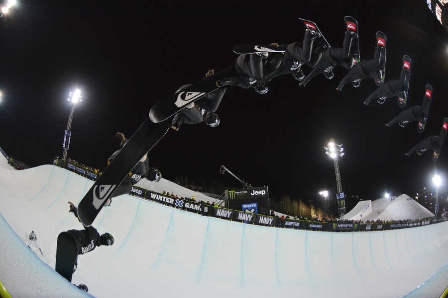 Iouri Podladtchikov superpipe sequence at 2014 X Games in Aspen