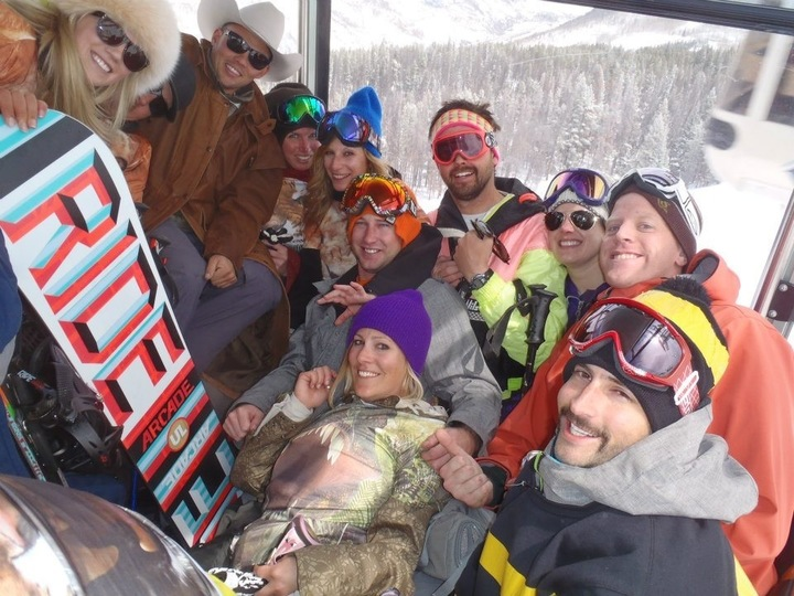 Nothing like cramming 15 of your best friends into the Vail Gondola.