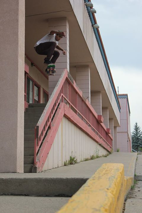 Devin Lenahan popping this Colorado Skateboards ollie over the rail in Pagosa Springs, Colorado.
