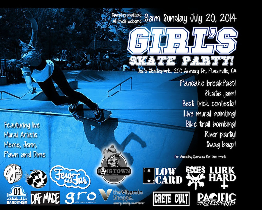 Summer Skating with @gro - Join Few & Far and many other great girls and sponsors 9am to 1pm on July 20th at the Placerville Skatepark for a Ladies Skate Jam and pancake breakfast.