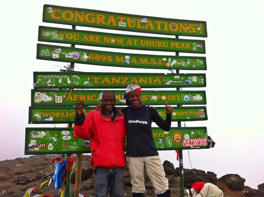 Misty from Flipside Fresh and her porter named Rama, took GoodPeople to new heights to the top of Mt. Kilimanjaro.