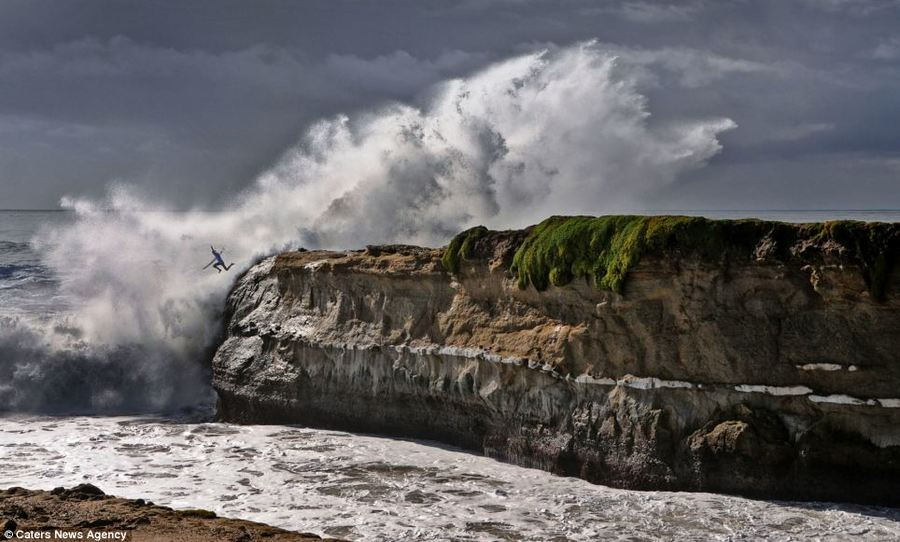 This unnamed surfer was spotted by photographer and graphic designer Allen Hughes as he was capturing images of a surfing competition off of Lighthouse Point, in Santa Cruz, California.