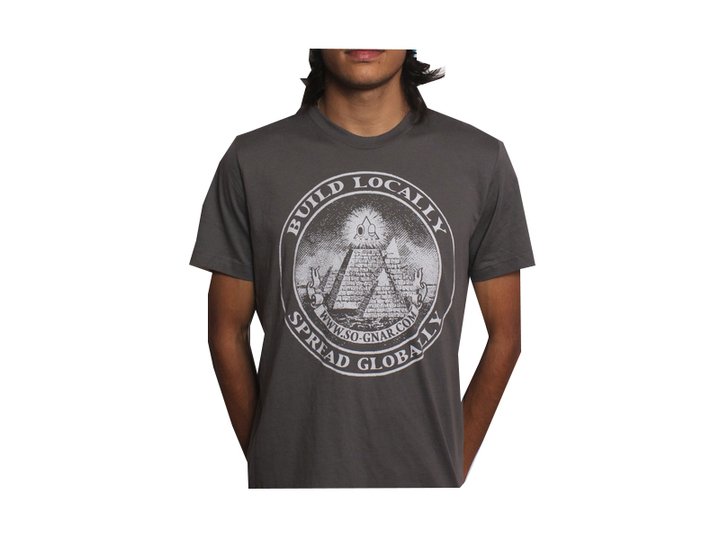 Tees - So-Gnar Build Locally Spread Globally Tee Shirt Grey