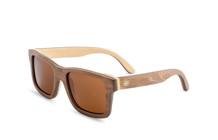 Sunglasses - Bosky Optics Hatch Wood Sunglasses Polarized Brown Lens