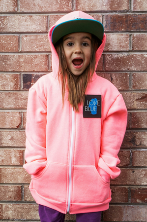 Zip Hoodies - California 89 KID'S LOVE BLUE ZIP HOODIE