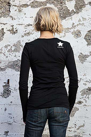 California 89 WOMEN'S LONG SLEEVE SCOOP NECK STAR ON UPPER RIGHT BACK
