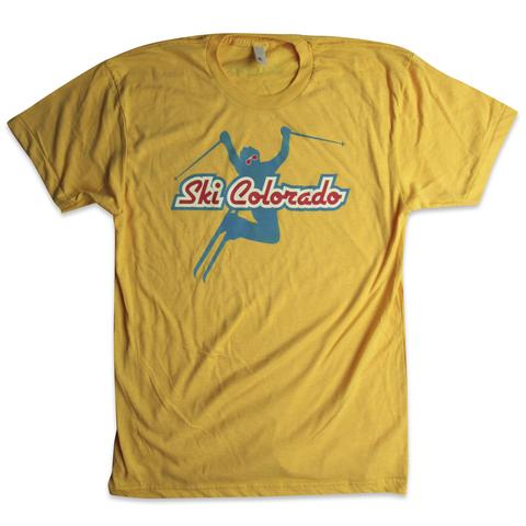 Tees - Kind Design Ski Colorado T-Shirt (Gold)