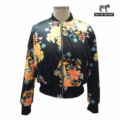 Fight For Your Right Fight For Your Right Campera Bomber Mujer Flowers Sublimado