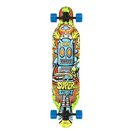 Lab Skateboarding Longboard Completo SuperStart TOP MOUNT - Estampado: Robot - Ruedas LAB 70mm.