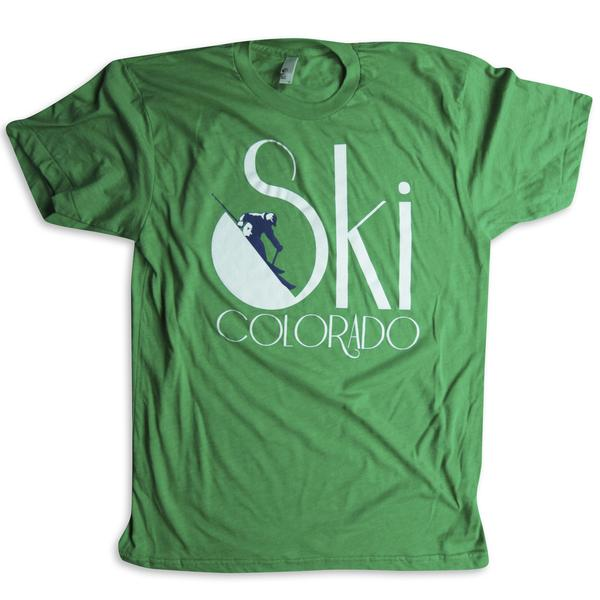 Tees - Kind Design Ski Colorado T-Shirt (Green)
