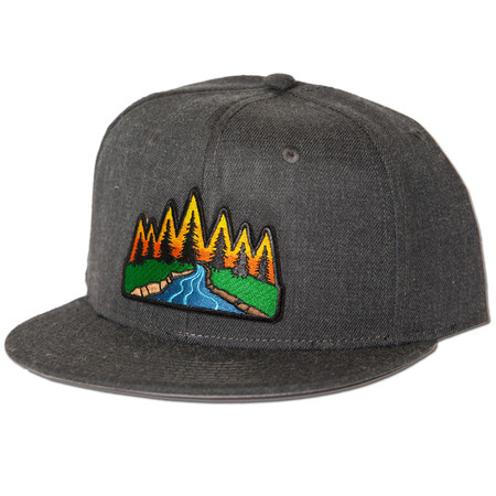 Rise Designs River Scene Snapback Hat - Heather Black